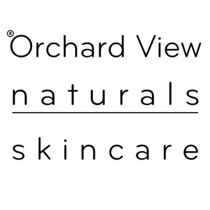 Orchard View naturals skincare logo, text.