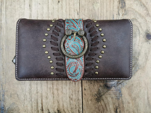 FG Pro Shop Leather Wallet with Turquoise Buckle