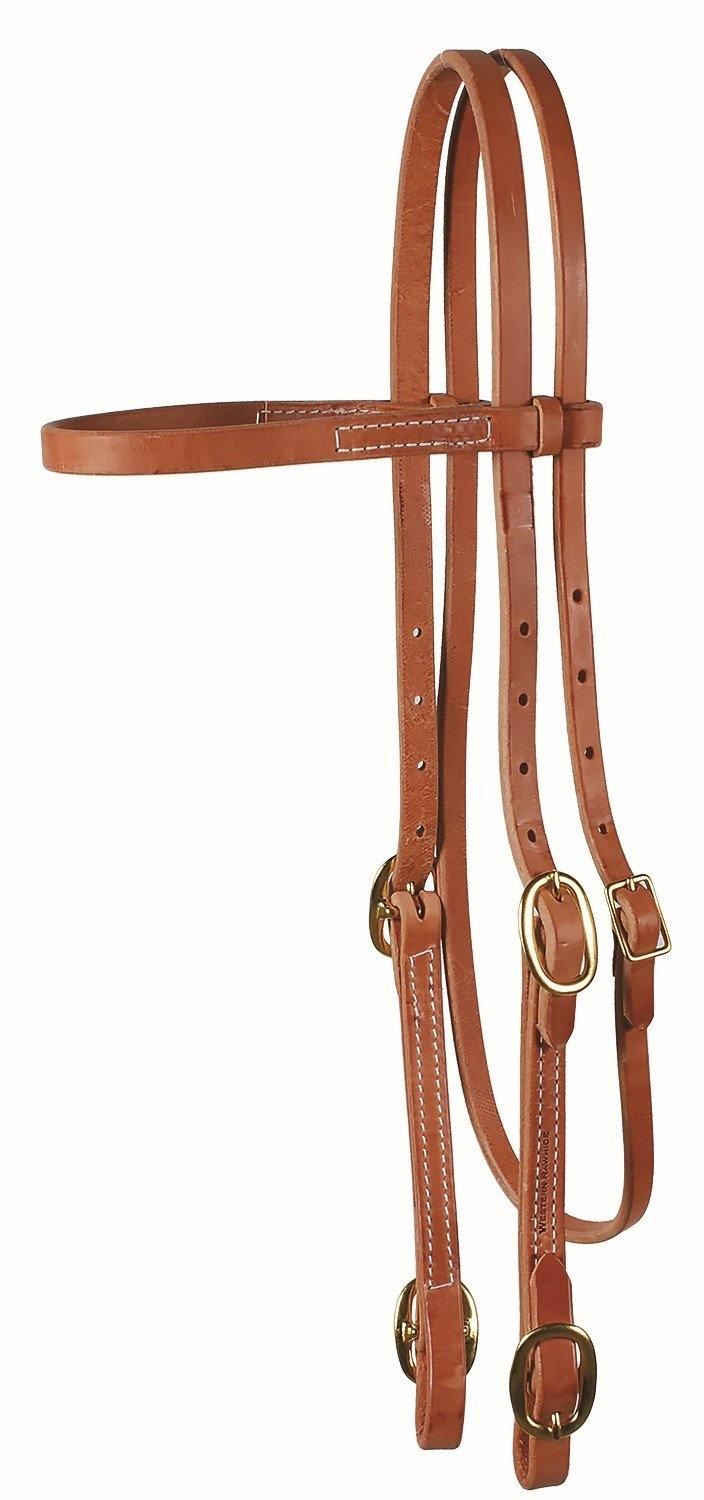 Browband Headstall With Buckles-Harness Leather