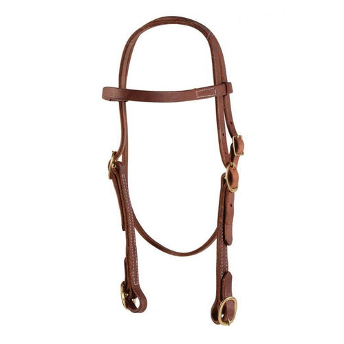 Browband Headstall with Buckles-Oiled Harness Leather - FG Pro Shop Inc.