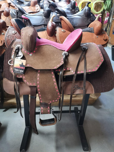 Little Buck Youth Saddle By Country Legend - Pink - FG Pro Shop Inc.