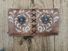 Load image into Gallery viewer, FG Pro Shop Flower Concho Wallet Brown