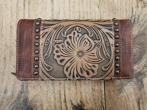FG Pro Shop Leather Wallet Tooled Brown