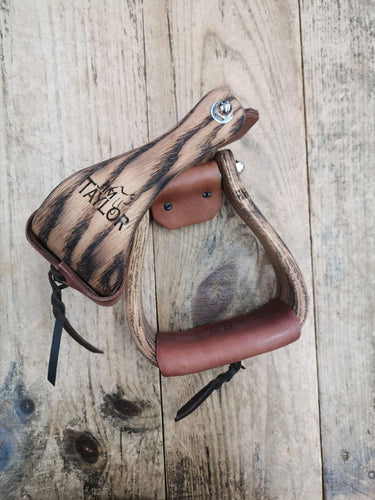 Jim Taylor Shaped Oil Wooded Stirrups 3'' - FG Pro Shop Inc.