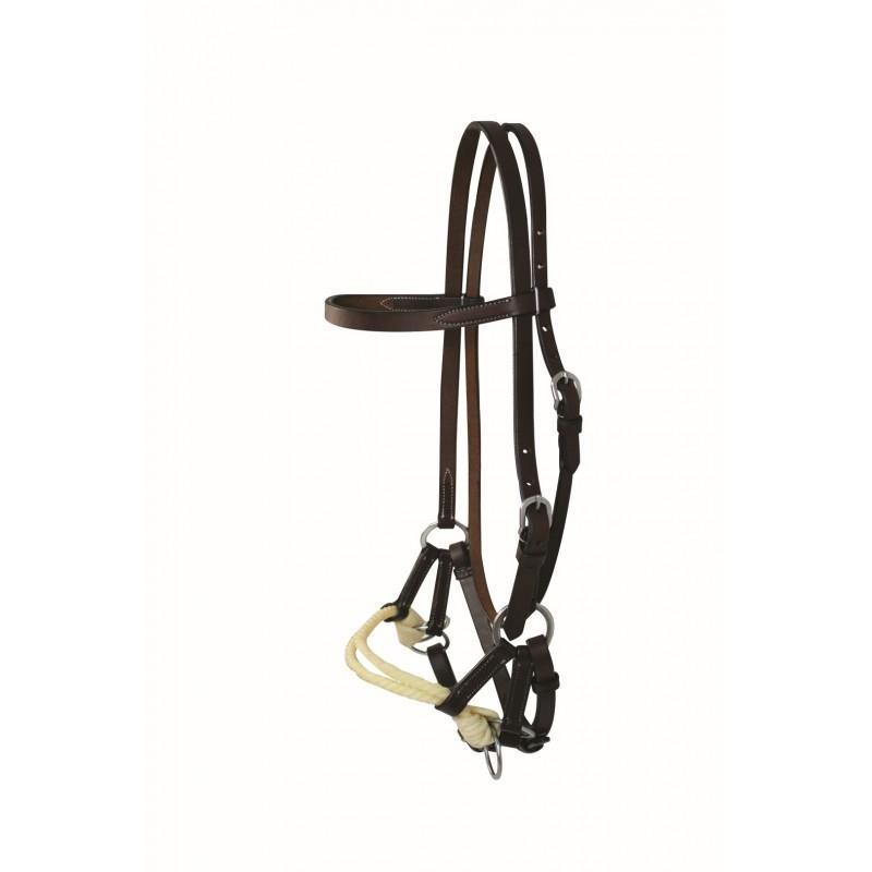 FG Pro Shop WESTERN RAWHIDE BY JIM TAYLOR LEATHER BROWBAND DOUBLE ROPE SIDE PULL
