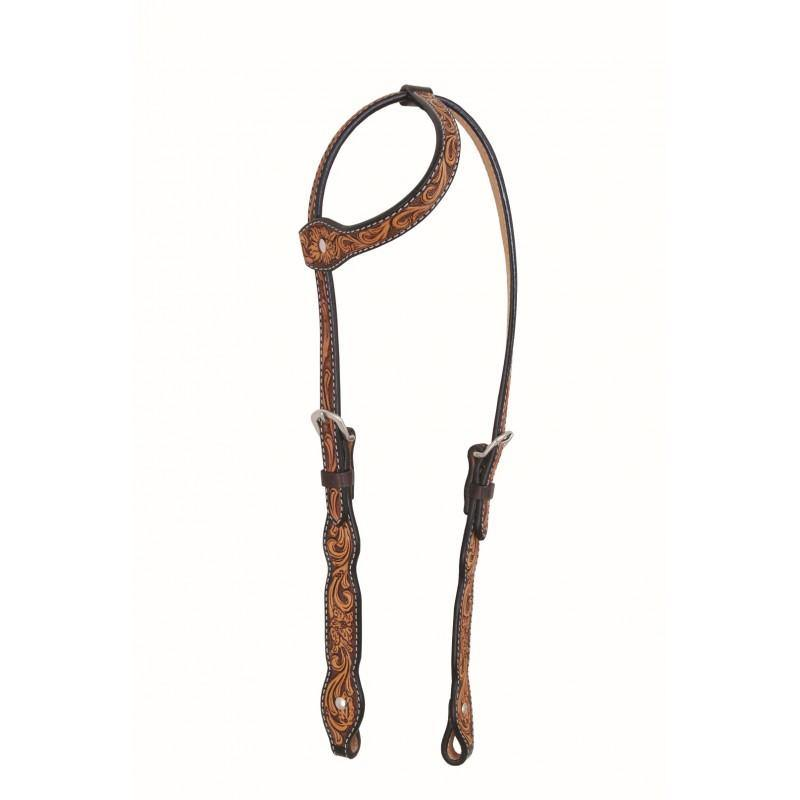 Western Rawhide By Jim Taylor Performance Floral Series Scallop One Ear Headstall
