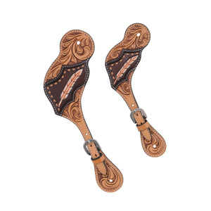 Country Legend Gator & Feathers Spur Straps