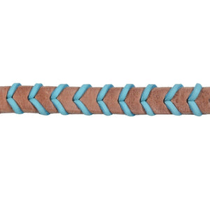 FG Pro Shop Harness leather braided barrel reins ocean blue