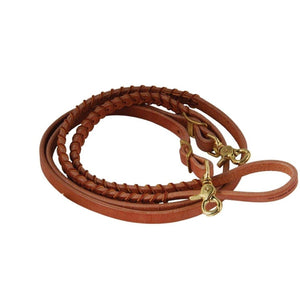 FG Pro Shop Harness leather braided barrel reins tan