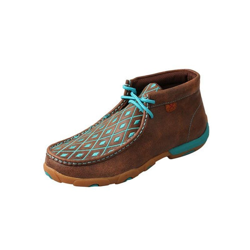 Womens Twisted X Brown/Turquoise Driving Moccasins - FG Pro Shop Inc.