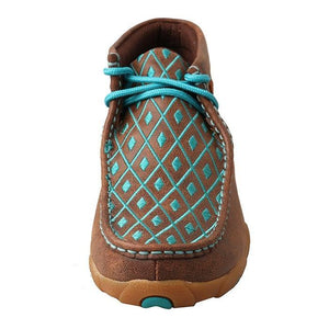 Womens Twisted X Brown/Turquoise Driving Moccasins