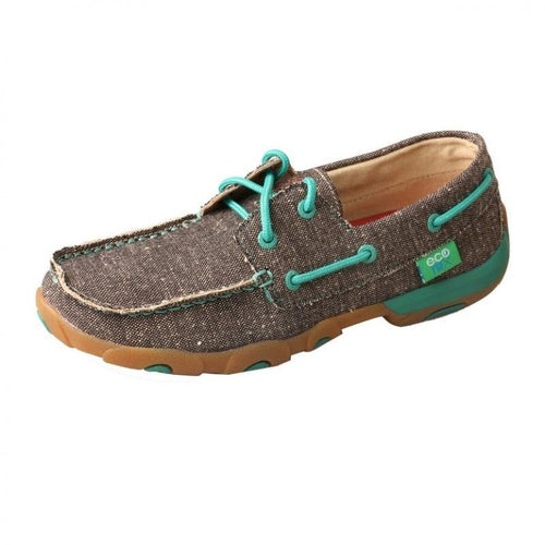 Womens Twisted X Dust Eco Brown/Turquoise Driving Moccasins - FG Pro Shop Inc.