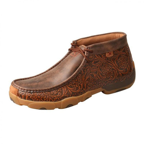 Mens Twisted X Tooled Brown Driving Moccasins - FG Pro Shop Inc.