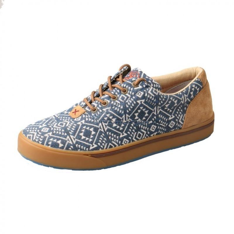 Mens Twisted X Navy/White Print Hooey Loper Moccasins