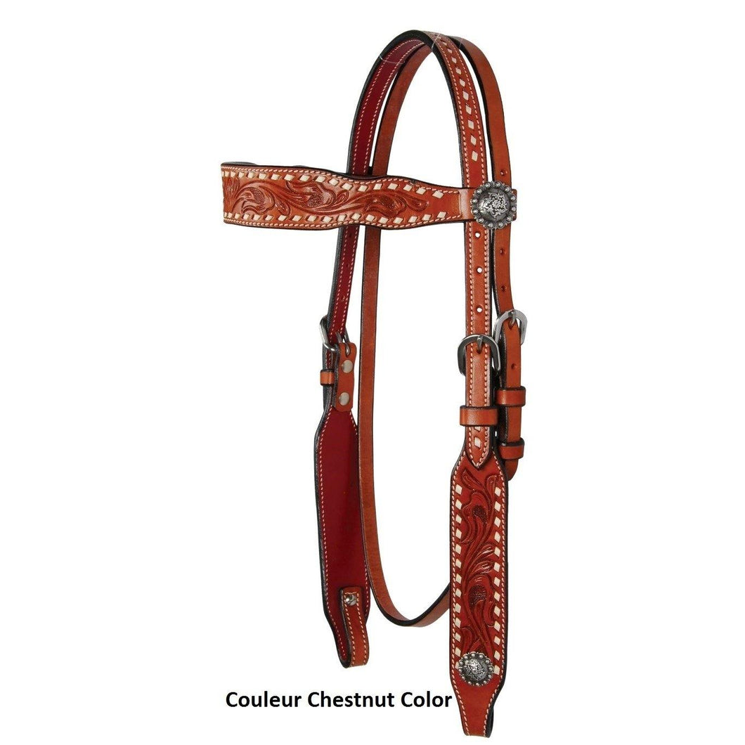 Buckstitch & Flower Browband Headstall