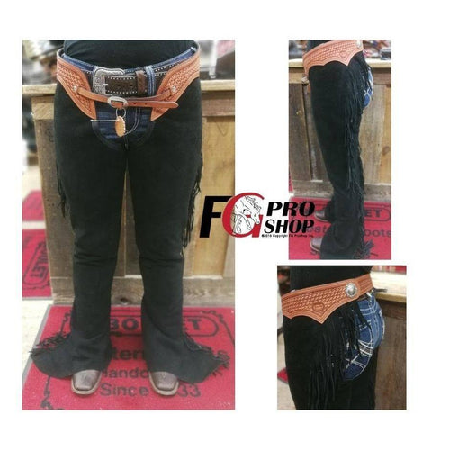 Black Show Chaps with Leather Top - FG Pro Shop Inc.
