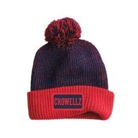 Crowellz Turned Edge Tuque with pompom Navy Red