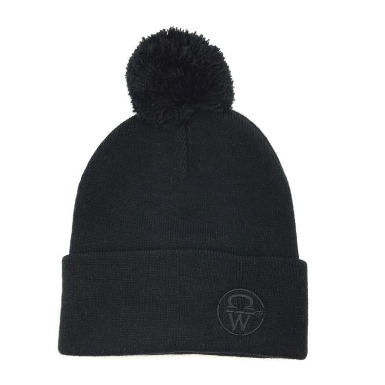 Crowellz Pompom Black Tuque Black Logo