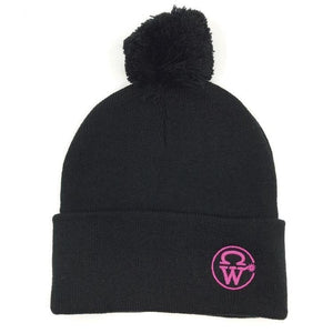 Crowellz Pompom Black Tuque Pink Logo