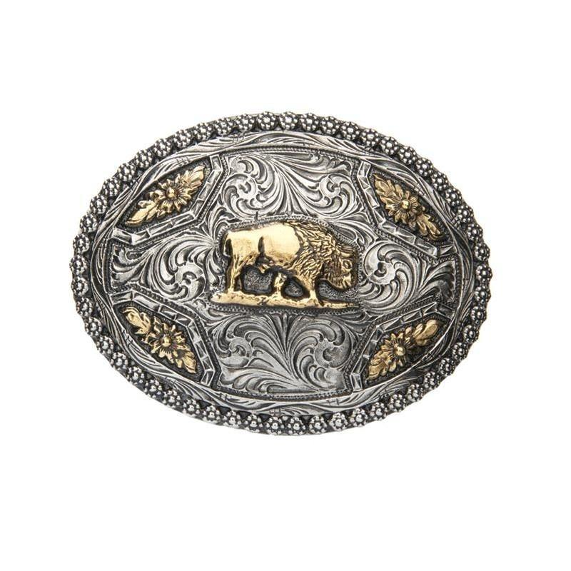 Two Toned  Buffalo with Berry Edge Belt Buckle