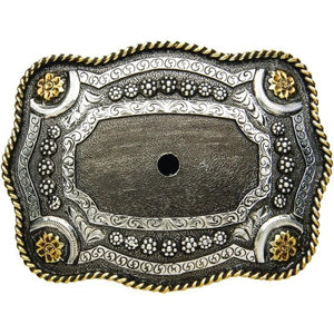 AndWest Two-Tone Antique Scalloped Motif Belt Buckle