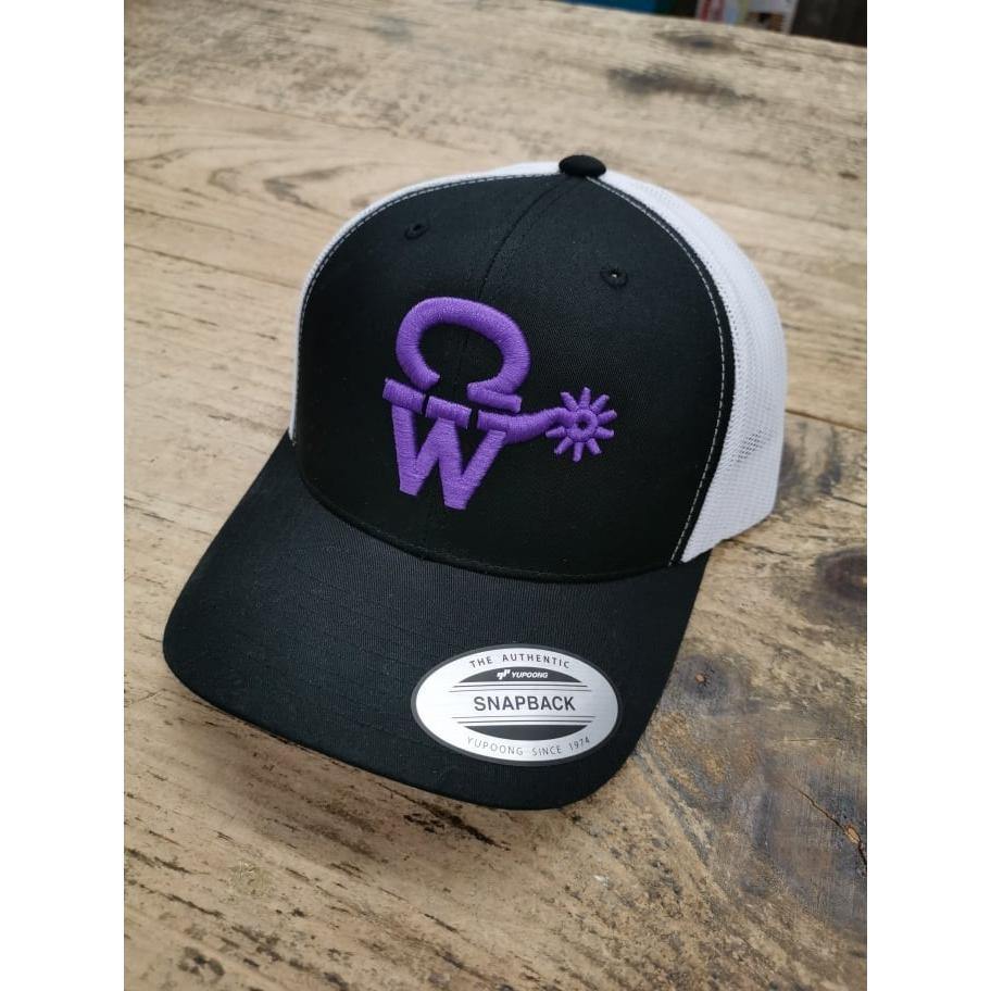 Crowellz Cap Rodeo Road Serie White Mesh Grape Logo
