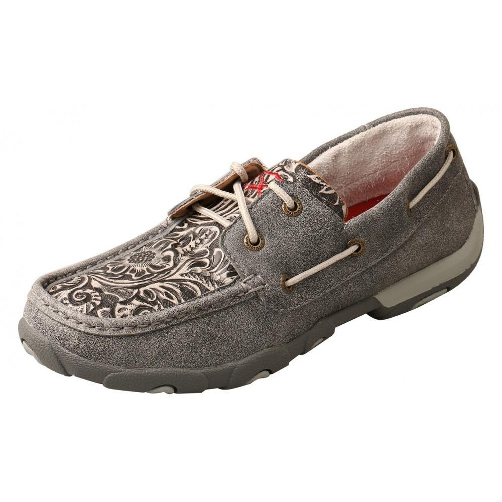 Womens Twisted X Boat Shoe Moccasins Grey/Multi