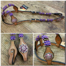 Load image into Gallery viewer, Pink Beads & Crystal Conchos Double Ear Headstall
