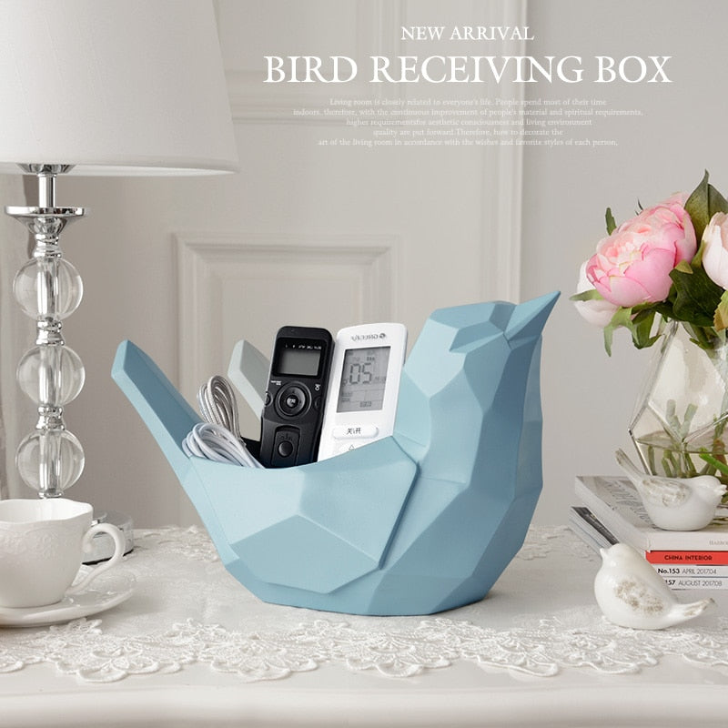 Resin bird Statue Mobile phone tools control storage box