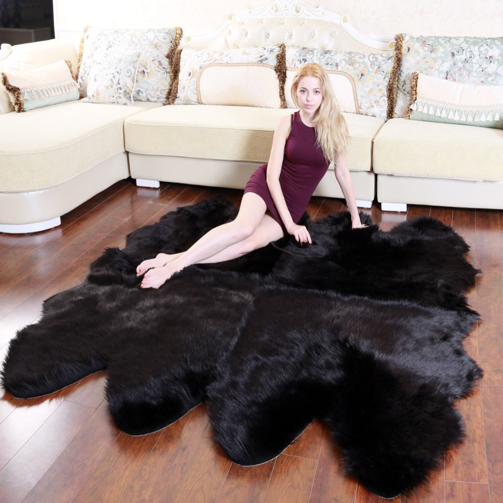 Modern Soft Artificial Sheepskin Rugs Bedroom Hairy Warm Plush Fur Floor Shaggy Mats Wool Carpet