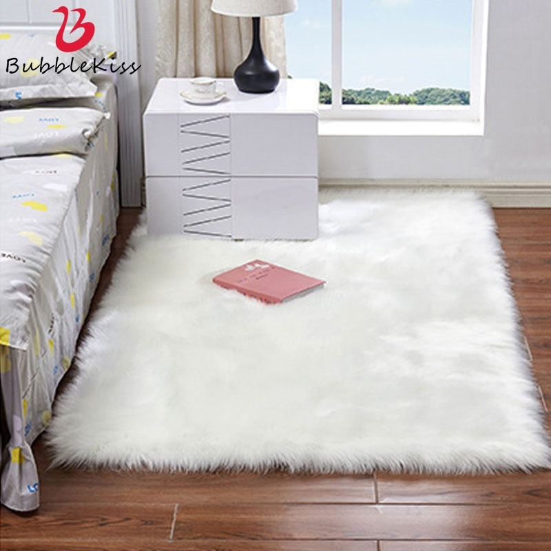Luxury Rectangle Artificial Wool Sheepskin Soft Fluffy Area Rug ur Carpet
