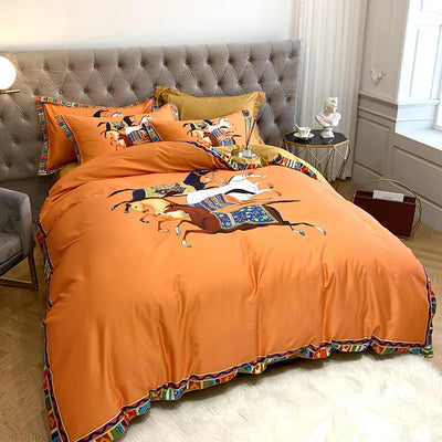 Luxury 100% Satin Egyptian Cotton War Horse Digital Printing Bedding Set Duvet Cover