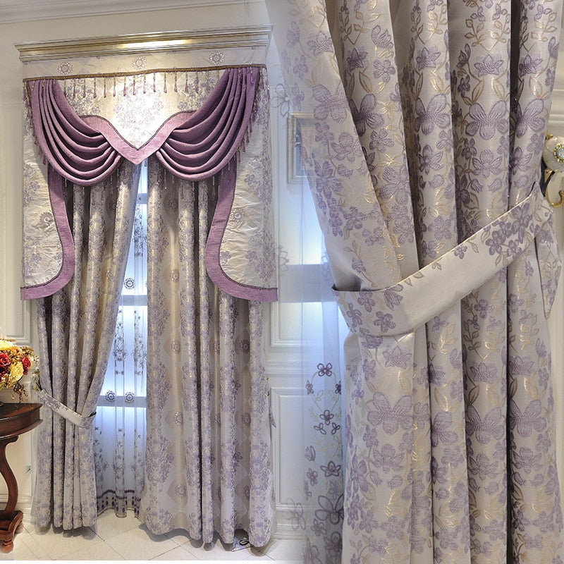 European-Style luxury purple beautiful Jacquard Curtain  Window Fabric