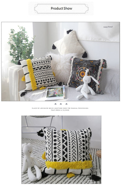 Handmade Luxury Moroccan Style Cushion Cover Wool Tassels Boho Style