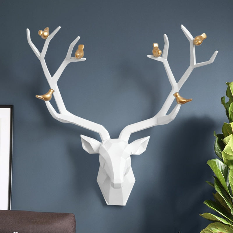 3d Big Deer Head Wall Decor for Home Statue Decoration Accessories