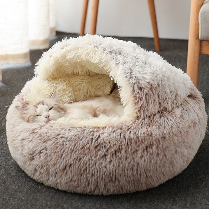 Plush Round Cat Bed Cat Warm House 2 In 1 Pet Bed Cushion Sleeping Sofa