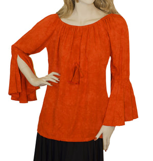 Womans Renaissance Top Pirate Top Orange