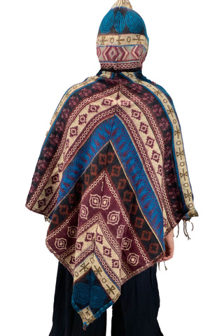 Soft one size Wool and Acrylic hooded back viewpancho with pockets