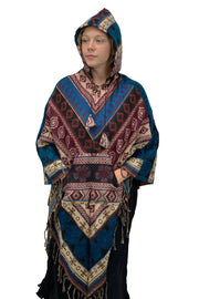 Soft one size Wool and Acrylic hooded pancho with pockets Himalayan