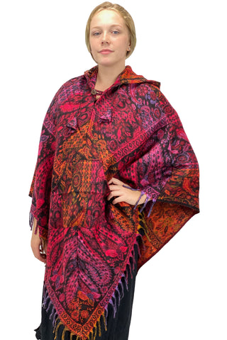 Soft one size Wool and Acrylic hooded pancho with pockets
