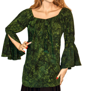 Womans Renaissance Top Pirate Top Green