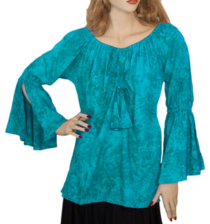 Womans Renaissance Top Pirate Top Teal