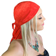 Pirate bandana head scarf face mask Red