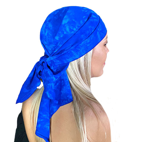 Pirate bandana head scarf face mask Blue