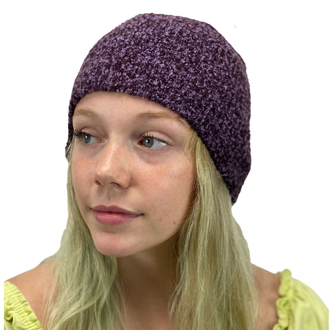 Beanie hat wool acrylic winter hat Purple Fleck