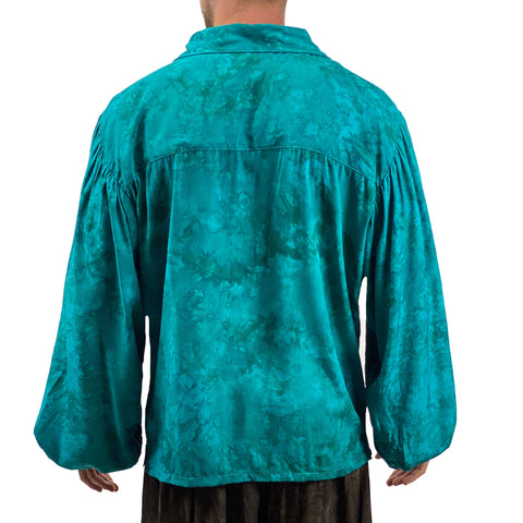 Mens Pirate shirt pirate top cotton pirate gear teal Back View