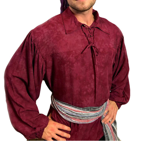 Mens Pirate shirt pirate top cotton pirate gear Burgundy