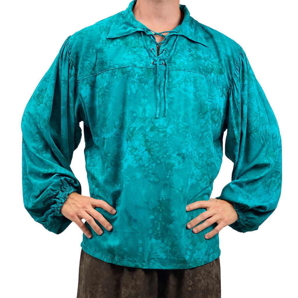 Mens Pirate shirt pirate top cotton pirate gear teal