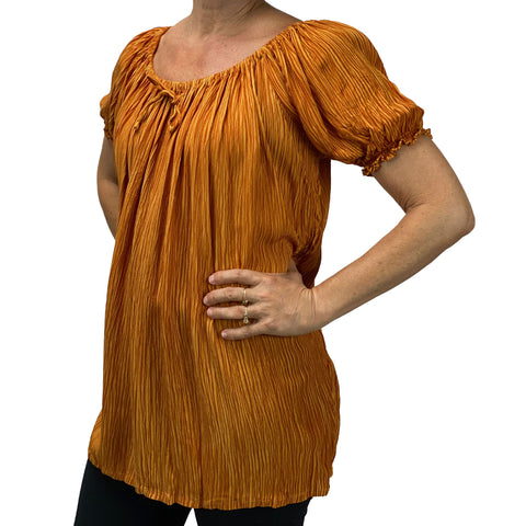 Womans Renaissance blouse pirate top Saffron