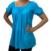 Womans Renaissance blouse pirate top Turquoise